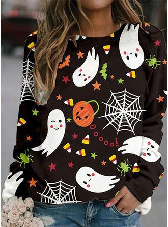 Halloween Nadruk Wytłaczany Okrągły dekolt Długie rękawy Bluza