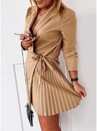Solid Long Sleeves Sheath Above Knee Little Black/Casual/Elegant Wrap Dresses