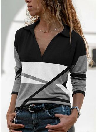 Blok Koloru Lapel Długie rękawy T-shirty