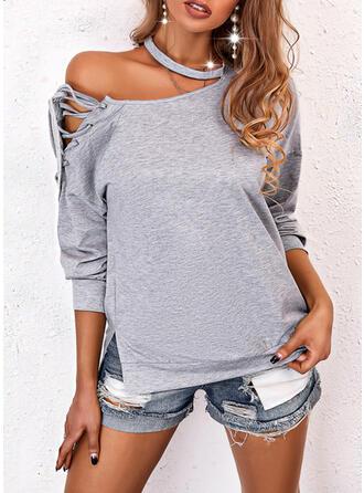 Jednolity Na jedno ramię Długie rękawy Bluza