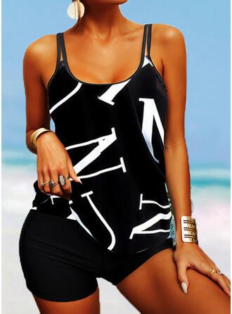 Splice color Geometric Strap U-Neck Classic Swimdresses Swimsuits