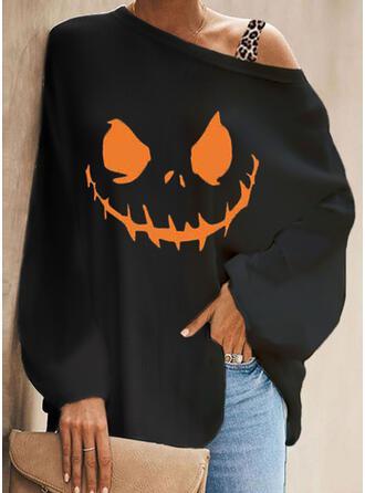 Halloween Nadruk lampart Na jedno ramię Długie rękawy Bat Sleeve Nieformalny Bluzki