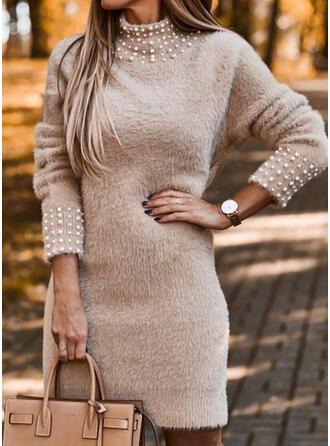 Jednolita/Wysadzana perełkami Długie rękawy Bodycon Nad kolana Casual Sweter Sukienki