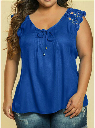 Lace Solid V-Neck Cap Sleeve Casual Plus Size Tank Tops