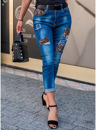 lampart Dżinsowa Przycięte Nieformalny Seksowny Duży rozmiar Pocket Ripped splice color Dżinsy