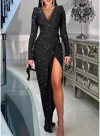 Nadruk Długie rękawy shim sleeve Pokrowiec Impreza Maxi Sukienki