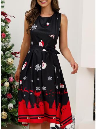 Nadrukowana Bez rękawów W kształcie litery A Długośc do kolan Boże Narodzenie/Przyjęcie Łyżwiaż Sukienki