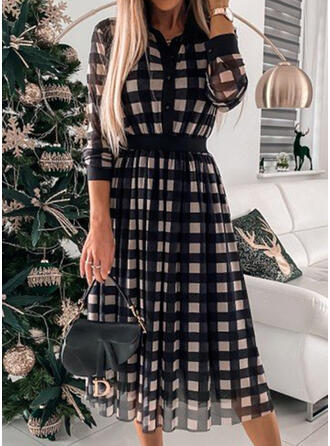 Plaid Long Sleeves A-line Skater Elegant Midi Dresses