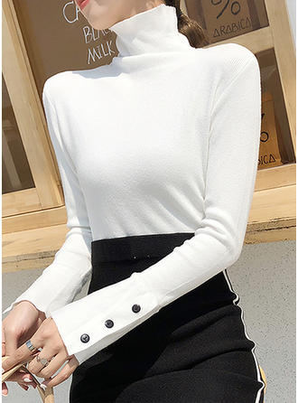 Solid High Neck Long Sleeves Casual Basic Knit Blouses