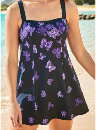 Animal Print Strap U-Neck Attractive Cute Casual Swimdresses Swimsuits