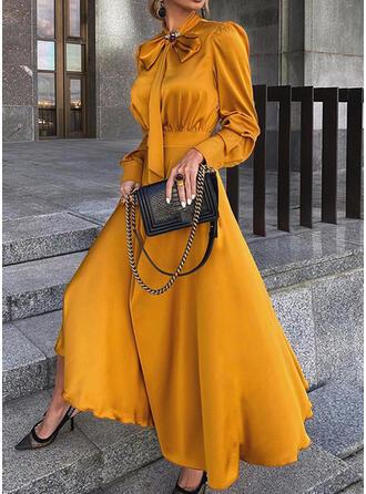 Jednolita Długie rękawy/Bufiaste rękawy W kształcie litery A Łyżwiaż Mała czarna/Przyjęcie Maxi Sukienki
