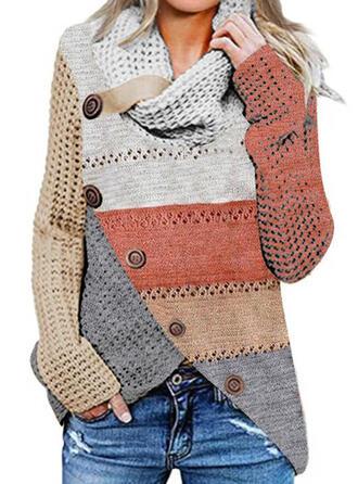 Blok Kolorów Dekolt Woda Casual Swetry