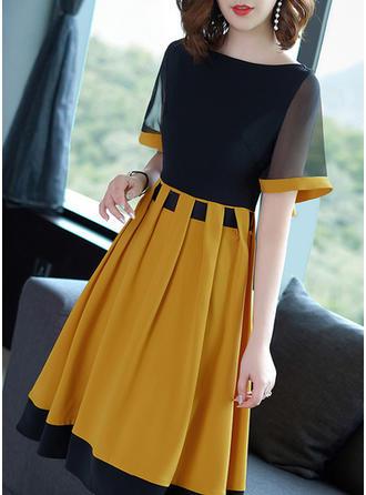 Wyszczuplająca Krótkie rękawy W kształcie litery A Długośc do kolan Wintage/Casual/Elegancki Sukienki