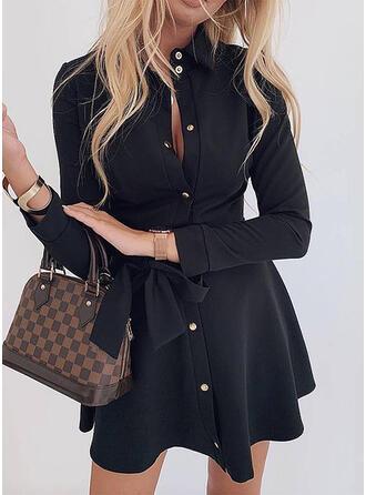 Jednolita Długie rękawy W kształcie litery A Nad kolana Mała czarna/Casual/Elegancki Koszula/Łyżwiaż Sukienki
