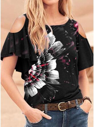 Kwiatowy Nadruk Zimne ramię Krótkie rękawy T-shirty