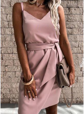 Solid Sleeveless Sheath Above Knee Elegant Slip Dresses