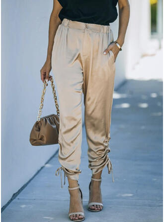 Shirred Drawstring Elegant Solid Pants