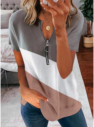 Blok Koloru Dekolt w kształcie litery V Krótkie rękawy T-shirty