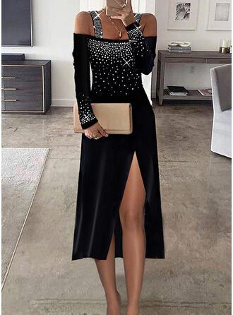 Nadruk cekiny Długie rękawy cold ramion rękaw Pokrowiec Elegancki Midi Sukienki