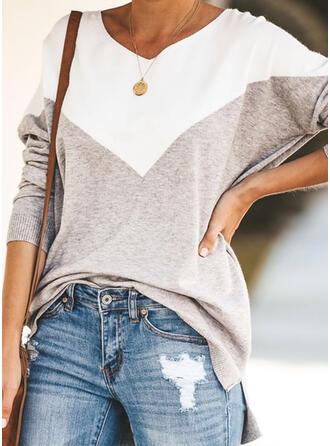 Blok Kolorów Dekolt w kształcie litery V Długie rękawy Casual Dzianina T-shirty