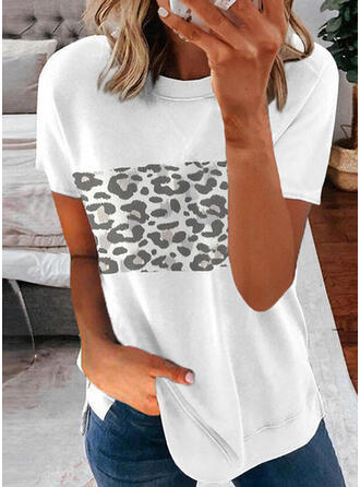Leopard Print Round Neck Short Sleeves T-shirts