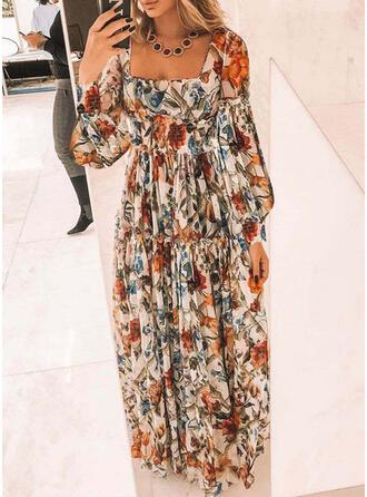 Nadrukowana/Kwiatowy Długie rękawy W kształcie litery A Łyżwiaż Casual/Elegancki Maxi Sukienki