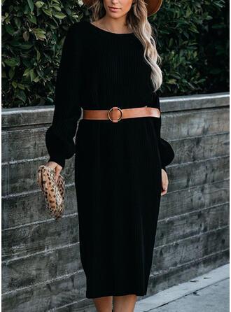 Jednolita Długie rękawy Pokrowiec Sweter Mała czarna/Casual Midi Sukienki