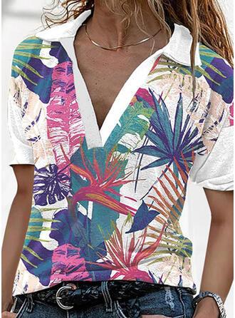 Nadruk Lapel Krótkie rękawy T-shirty