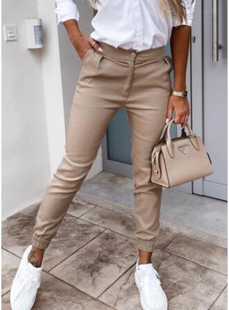 Jednolity Przycięte Nieformalny Pocket Przycisk Spodnie
