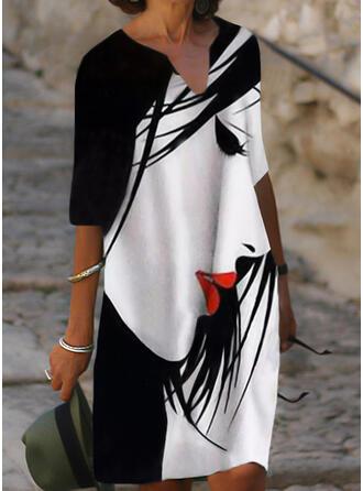 Print 1/2 Sleeves Shift Knee Length Casual Tunic Dresses