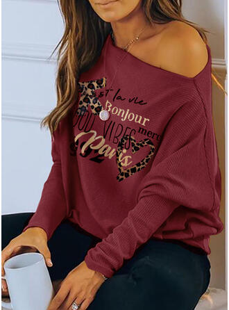 Print Leopard Figure Heart One-Shoulder Long Sleeves Casual Blouses