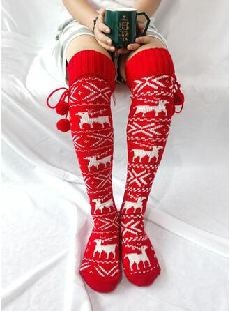 Nadruk/Renifer Boże Narodzenie Ciepły/Wygodny/Kobiet/Boże Narodzenie/Skarpety do kolan Skarpety/Pończochy