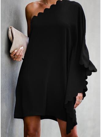 Jednolita Długie rękawy/Rękawy w kształcie skrzydeł nietoperza Koktajlowa Nad kolana Mała czarna/Przyjęcie Sukienki