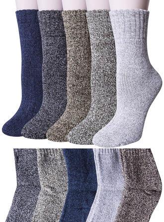 Solid Color Warm/Comfortable/Crew Socks/Unisex Socks (Set of 5 pairs)