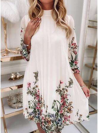 Nadruk/Kwiatowy Szyfon Długie rękawy shim sleeve Suknie shift Nad kolana Nieformalny Tunika Sukienki