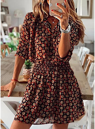 Print 3/4 Sleeves A-line Above Knee Casual/Elegant Skater Dresses
