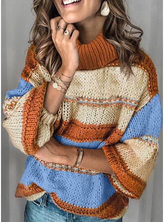 Color Block Turtleneck Casual Sweaters
