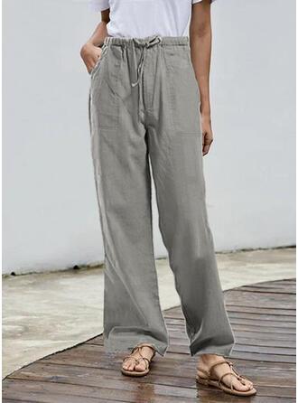 Shirred Plus Size Long Casual Long Pants