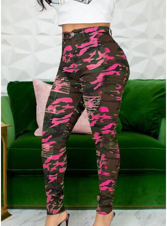 Podarte Kamuflaż Długo Nieformalny Seksowny Spodnie