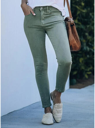 Solid Shirred Elegant Sexy Denim & Jeans