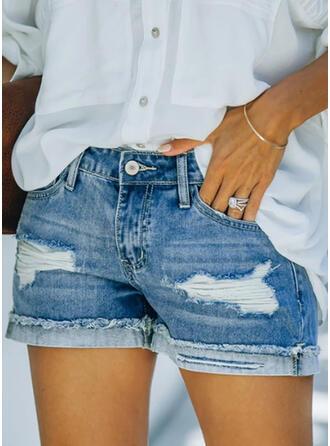 Jednolity Bawełna Nad kolanem Elegancki Duży rozmiar Pocket shirred Ripped Przycisk Spodnie Szorty Dżinsy