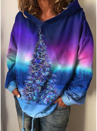Tie dye barwniki Las Długie rękawy Świąteczna bluza