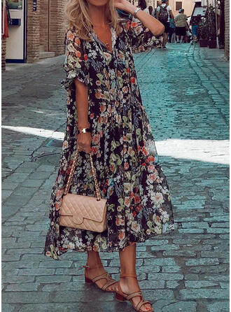 Print/Floral 1/2 Sleeves Shift Tunic Casual/Vacation Midi Dresses
