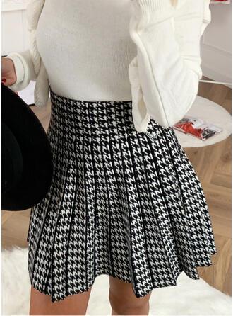 Cotton Blends Print Above Knee A-Line Skirts