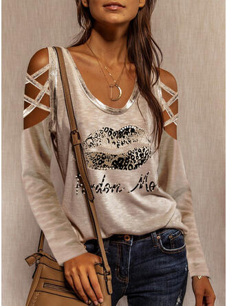 Print Leopard Figure Beaded Cold Shoulder Long Sleeves Casual Blouses