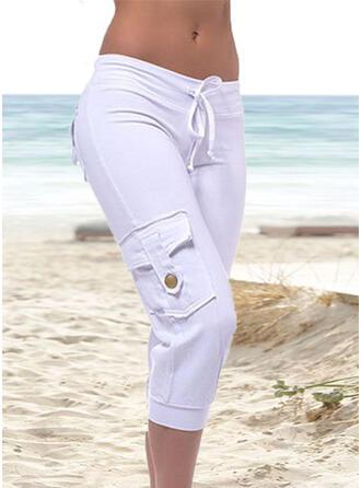 Kieszenie Marszczona Duży rozmiar midi Nieformalny sportieve Spodnie