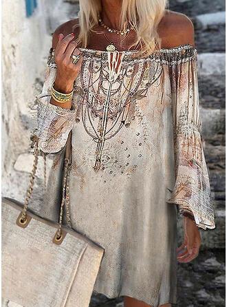 Nadrukowana Długie rękawy Koktajlowa Nad kolana Casual Sukienki