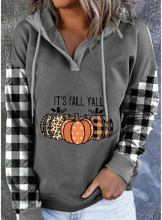 Halloween Nadruk lampart W kratę Wytłaczany Długie rękawy Bluza z kapturem
