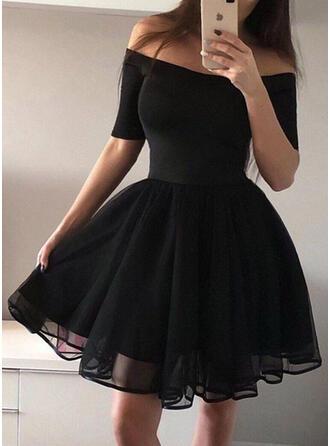 Jednolita Rękawy 1/2 W kształcie litery A Nad kolana Wintage/Mała czarna/Przyjęcie/Elegancki Łyżwiaż Sukienki