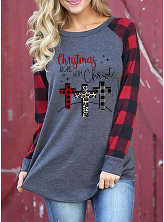 Nadruk lampart Figura Okrągły dekolt Długie rękawy Casual Boże Narodzenie T-shirty